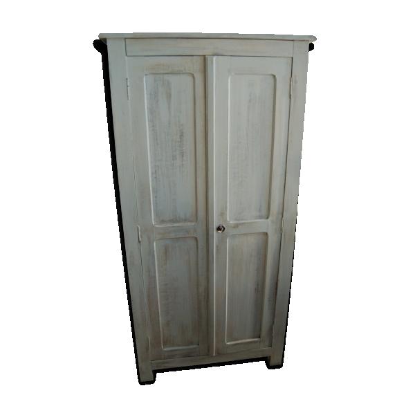 armoire parisienne 40s 50s patin e blanc mint vieilli bois mat riau blanc bon tat. Black Bedroom Furniture Sets. Home Design Ideas
