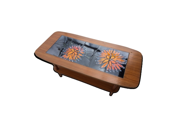 Table basse vintage design scandinave céramique et teck
