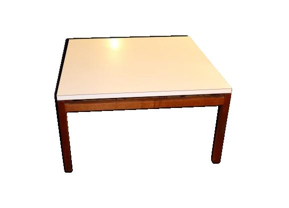 Table basse carrée années 70 plateau blanc piétement teck