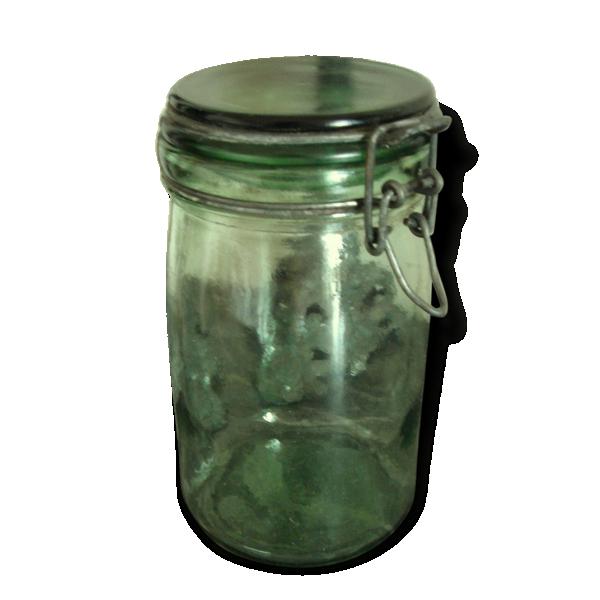 bocal ancien vert verre couvercle fermeture m tal d co collection cuisine verre et. Black Bedroom Furniture Sets. Home Design Ideas