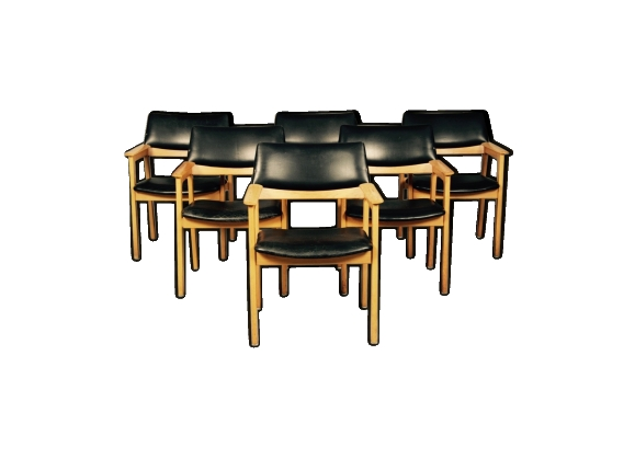 Suite de 6 fauteuils cuir noir design scandinave 1950