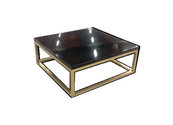 Table basse carrée bois laqué laiton 1970
