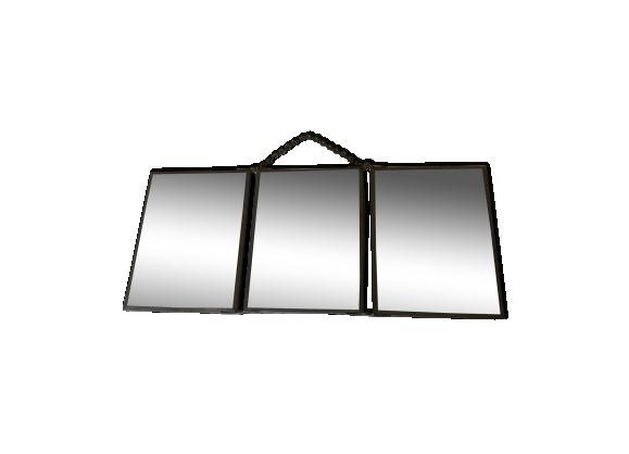 Miroir tryptique de barbier 20 39 s verre et cristal gris - Miroir de barbier triptyque ...