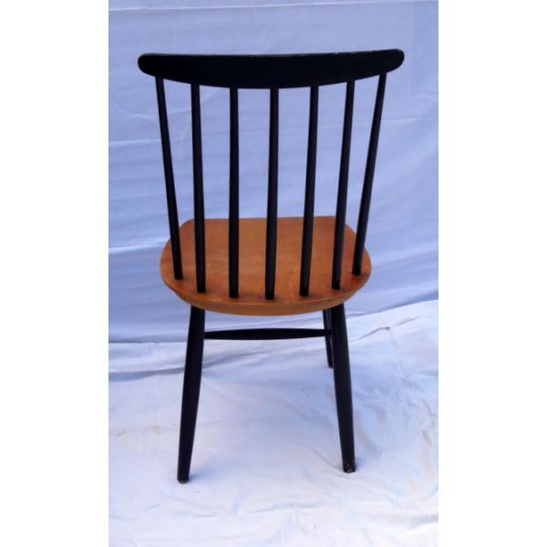 Chaise 7 barreaux 1960 bois mat riau noir bon for Chaise barreaux