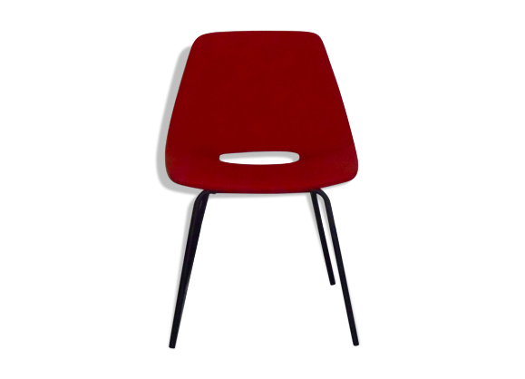 chaise tonneau pierre guariche bois mat riau rouge bon tat design. Black Bedroom Furniture Sets. Home Design Ideas