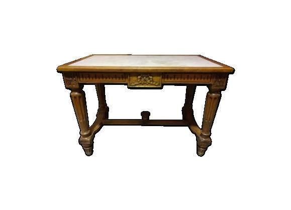 Table en noyer et marbre style Louis XVI