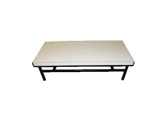 Table basse vintage mélaminé blanc années 60
