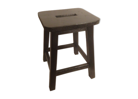 tabouret bistrot bois noir ann e 50 bois mat riau noir dans son jus vintage. Black Bedroom Furniture Sets. Home Design Ideas