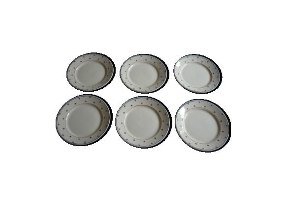 6 assiettes en faience luneville modele pierre