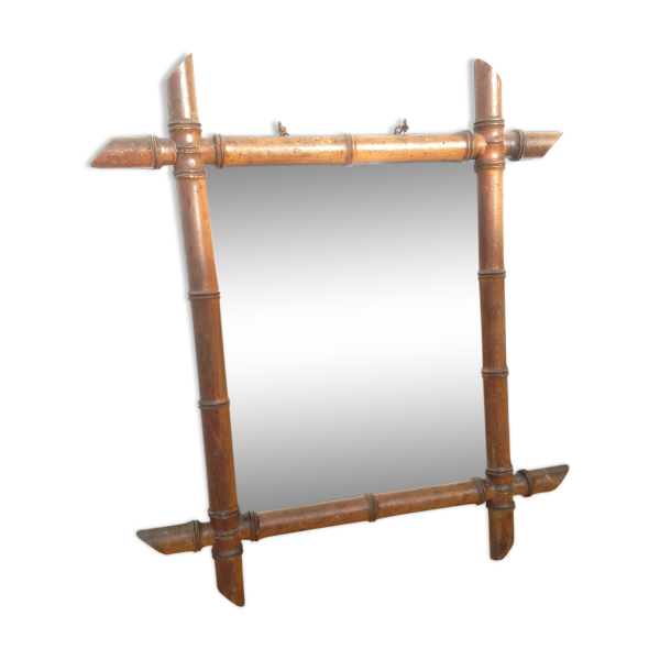 miroir bambou glace salle de bain original vintage bois mat riau bois couleur dans son. Black Bedroom Furniture Sets. Home Design Ideas