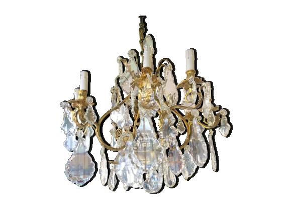 Lustre à pampilles en cristal et bronze doré fin du 19 ème siècle