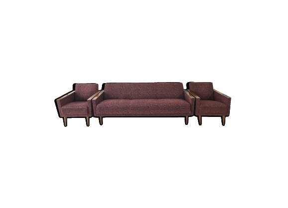 Ensemble canapé et fauteuils sixties