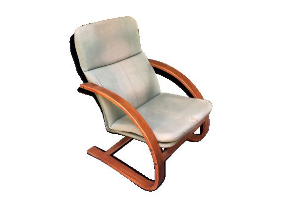 fauteuil scandinave ann es 70 bois mat riau bois couleur dans son jus vintage. Black Bedroom Furniture Sets. Home Design Ideas
