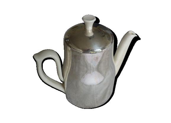 Cafetiere en faience thermos avec cerclage en métal argenté