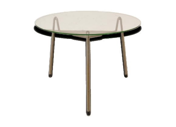 table basse ronde grise en m tal verre de gispen pays bas 1950s le fait main. Black Bedroom Furniture Sets. Home Design Ideas