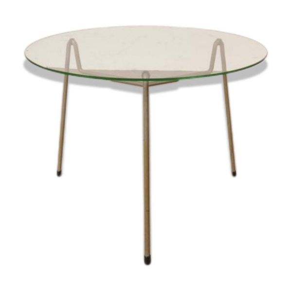 table basse ronde grise en m tal verre de gispen pays bas 1950s verre et cristal. Black Bedroom Furniture Sets. Home Design Ideas
