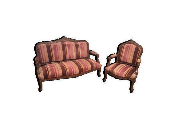Canapé 3 places et bergère style Louis XV