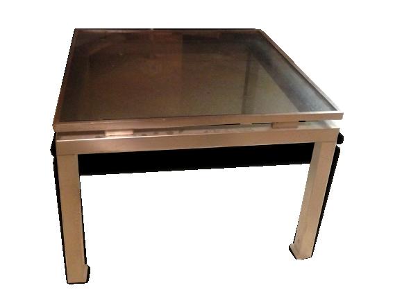 Table basse acier et verre