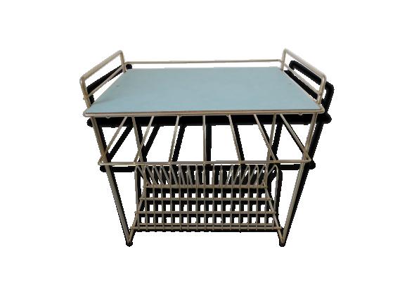 table porte revues m tal dor formica bleu ciel ann es 50 60 formica bleu bon tat. Black Bedroom Furniture Sets. Home Design Ideas