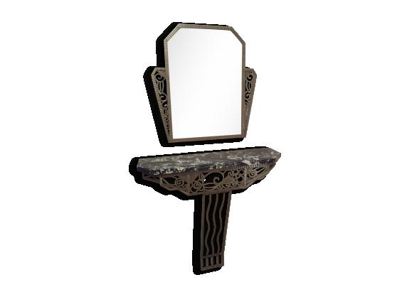 console et miroir fer forg fer argent couleur bon tat art d co 163272. Black Bedroom Furniture Sets. Home Design Ideas