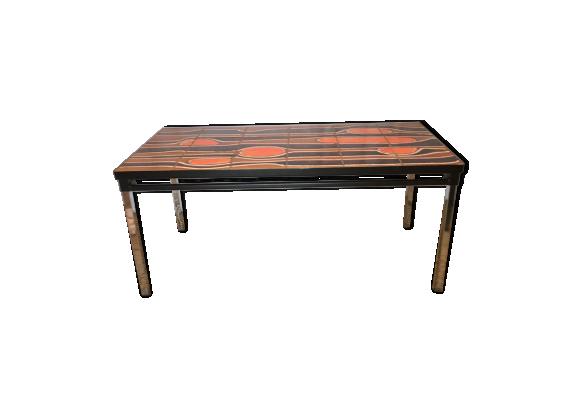 table basse ann es 70 c ramique porcelaine fa ence orange bon tat vintage. Black Bedroom Furniture Sets. Home Design Ideas