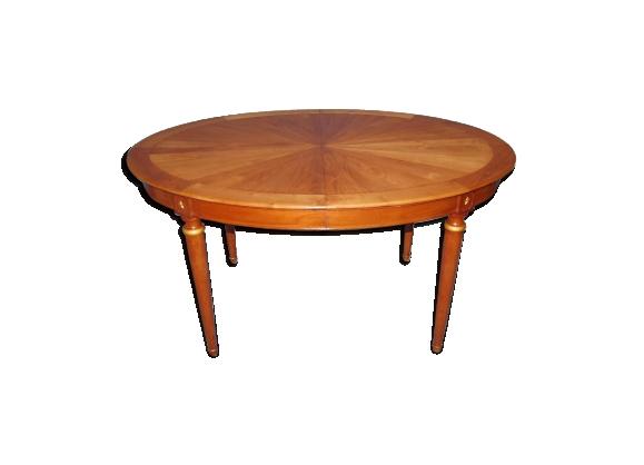 Table ovale marquetée à allonges
