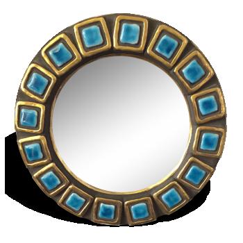 Petit miroir rond en céramique