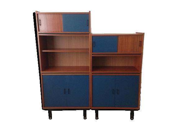 Bibliothèque modulable vintage en bois
