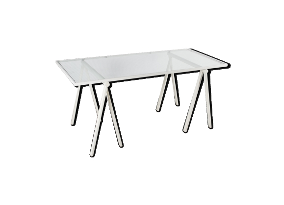 Bureau table à tréteaux vintage par Rodney Kinsman Bieffeplast Italie 1971
