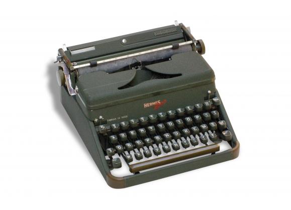 Machine à écrire Hermes 2000  vert militaire des années  60 de la marque Hermes