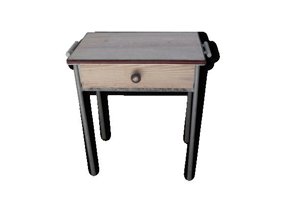 Petite table avec tiroir tablette industrielle metal et bois