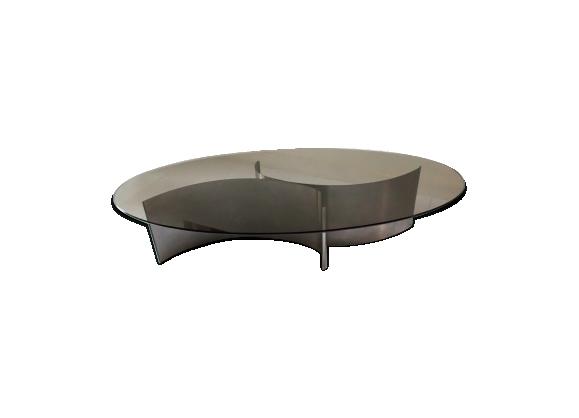 Table basse en acier brossé et verre - 1970