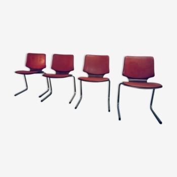 """Ensemble de 4 chaises vintage  Pagwood """"Kangourou"""" années 60/70"""