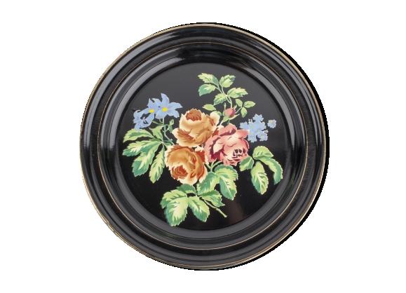 Plateau rond en tôle peinte à motif de fleurs de pivoines