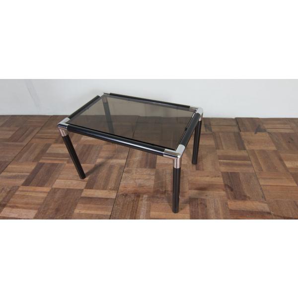 table de chevet vintage en acier chrom m tal transparent bon tat design. Black Bedroom Furniture Sets. Home Design Ideas