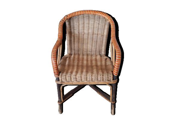 fauteuil d enfant en rotin ann es 60 rotin et osier marron bon tat vintage. Black Bedroom Furniture Sets. Home Design Ideas