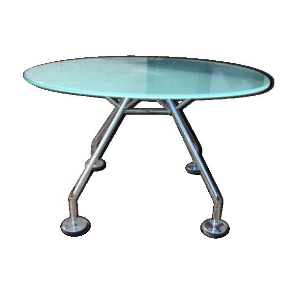 Table tecno nomos vintage design tecno nomos dining table verre et crista - Tabouret bar transparent ...