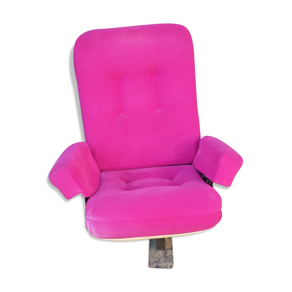 fauteuil de cin ma ann es 70 80 tissu rose dans son jus vintage. Black Bedroom Furniture Sets. Home Design Ideas