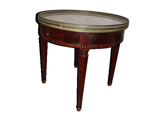 Table dite bouillotte de style Louis XVI en acajou et marbre