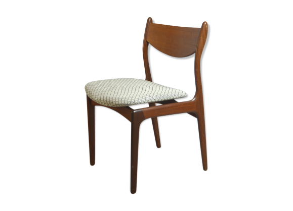 chaise danoise scandinave vintage en teck teck blanc bon tat scandinave. Black Bedroom Furniture Sets. Home Design Ideas