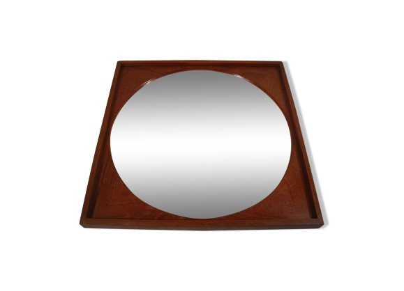miroir rond scandinave en bois vintage 1950 bois mat riau marron dans son jus. Black Bedroom Furniture Sets. Home Design Ideas