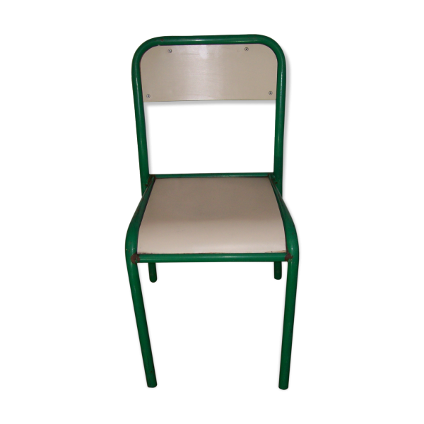 Chaise d 39 cole ann es 70 80 bois mat riau vert for Chaise annee 80
