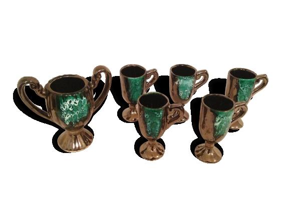 Service à Café ou Thé Ancien VALLAURIS Coupe + Tasses Céramique