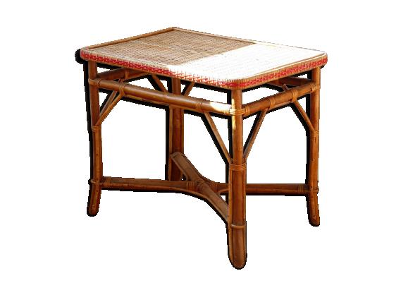 Table en bambou et rotin des ann es 40 rotin et osier for Table de chevet en rotin