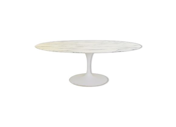 Table de salle manger en marbre de calacatta ovale de for Table knoll ovale marbre blanc