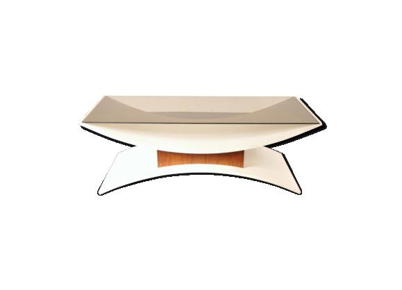 Table basse en weng en verre fum et en lamin blanc - Table basse verre fume ...