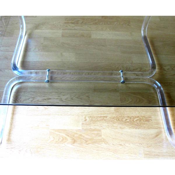 Table basse verre et plexiglas verre et cristal transparent bon tat - Console verre transparent ...