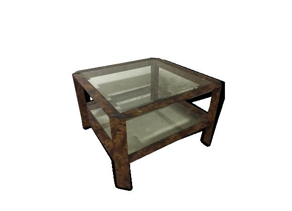 Table basse imitation bois et verre, 70's