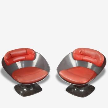 Paire de fauteuils en plexiglas et cuir de Raphael Raffel