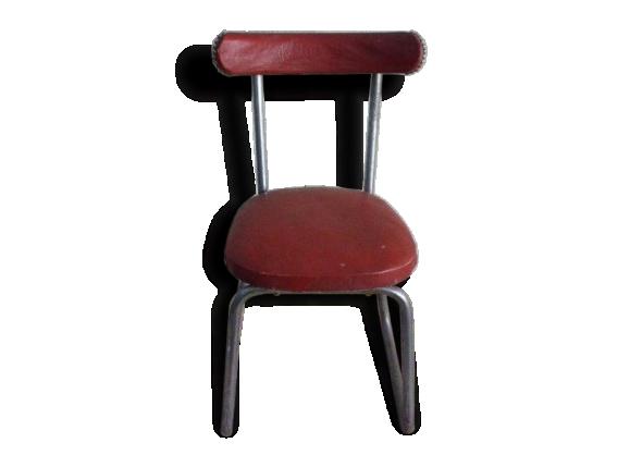 Chaise En Skai Rouge Et Metal Chrome Vintage 1950